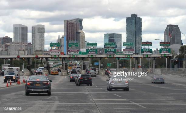 Cars make their way to a toll plaza on the New Jersey Turnpike on October 13 2018 in Jersey City New Jersey