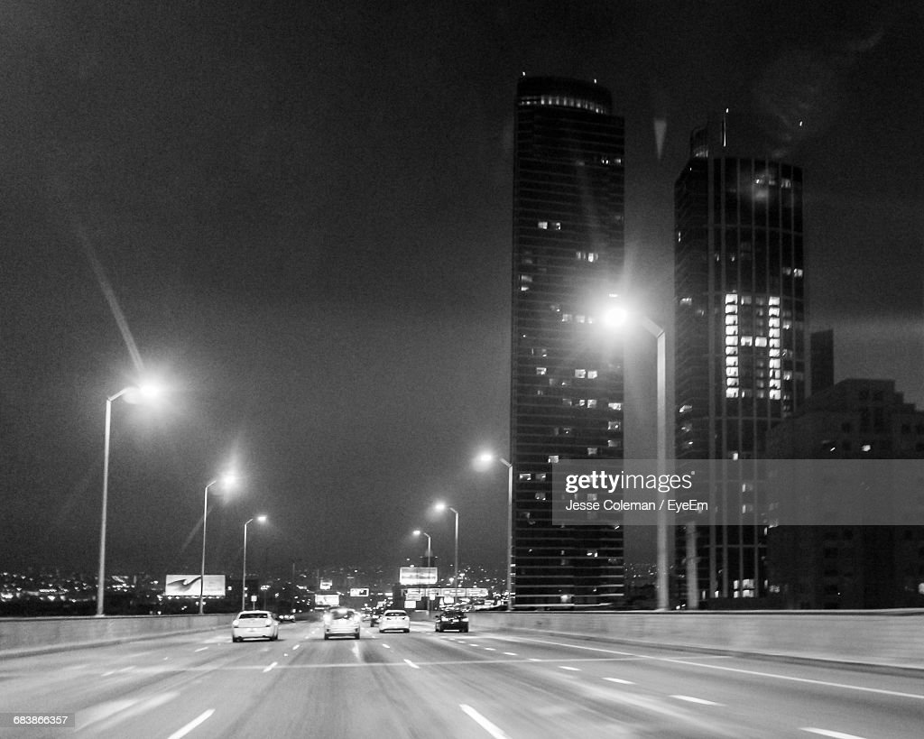 Cars Moving On Road At Night : Stock Photo