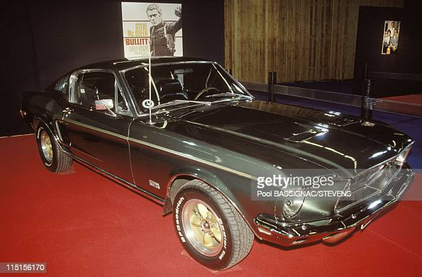 Cars of film stars at the Paris car show in Paris France on October 05 1994 1968 Ford Mustang GT 390 appeared in Bullitt an American thriller film...
