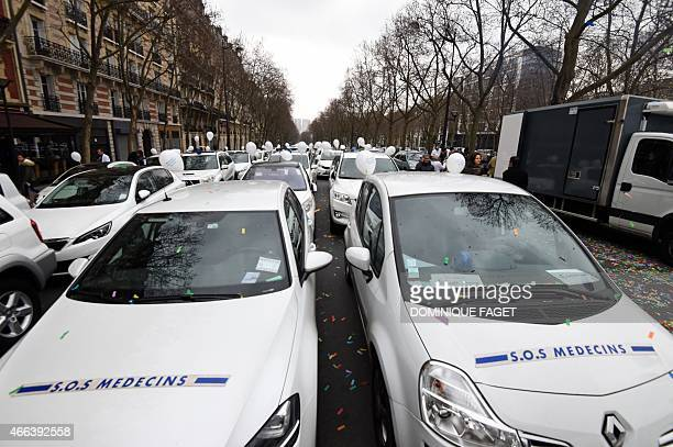 Cars of the SOS Medecins emergency medical service are seen during a demonstration of medical workers medical students hospital interns nurses and...