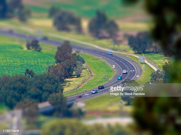 Cars on a country road with miniature effect