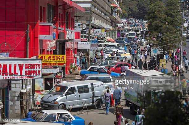 Cars on a crowded street on October 12 2015 in Addis Abeba Ethiopia