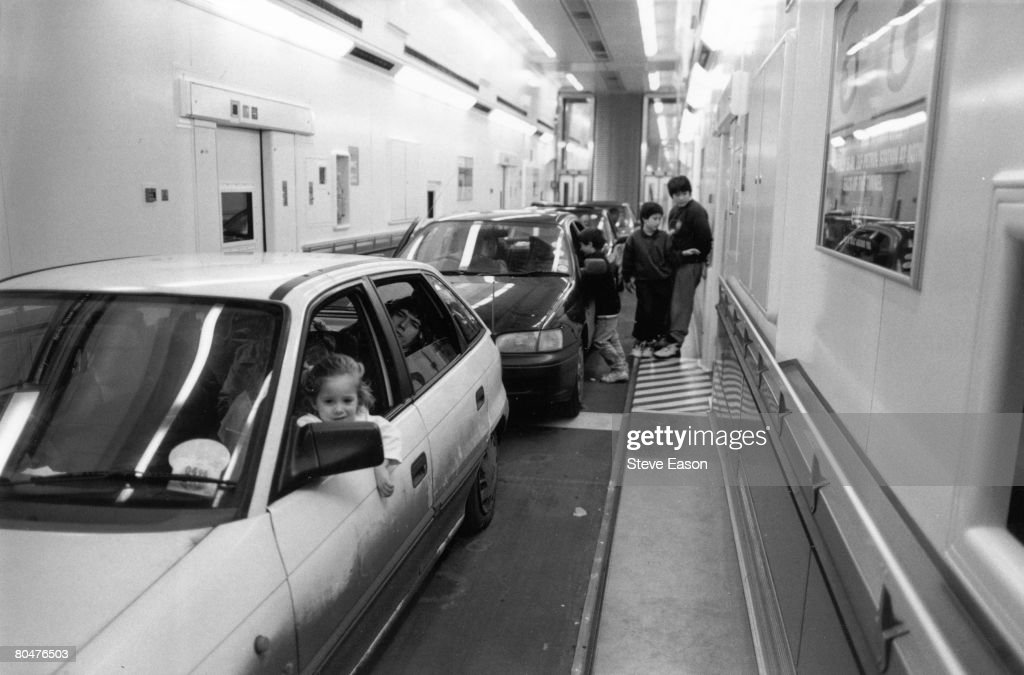 Cars on board 'Le Shuttle' passenger train to Paris, 16th December 1995.