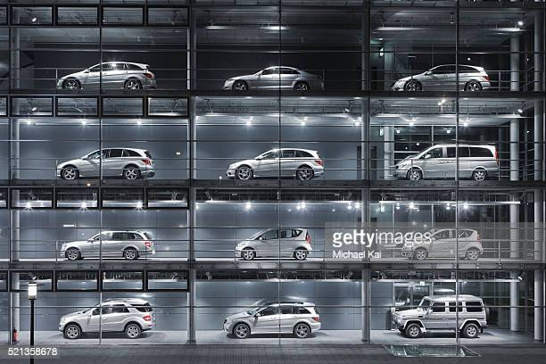 cars on display at mercedes centre, munich - mercedes benz stock pictures, royalty-free photos & images