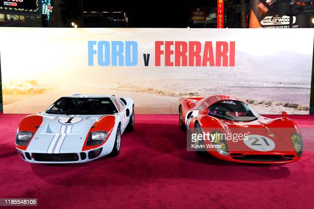 Cars on display at the Premiere of FOX's Ford V Ferrari at TCL Chinese Theatre on November 04 2019 in Hollywood California