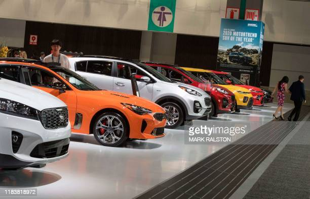 Cars on display during the AutoMobility LA event, at the 2019 Los Angeles Auto Show in Los Angeles, California on November 21, 2019.