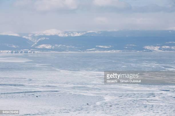 cars on Lake Baikal in winter