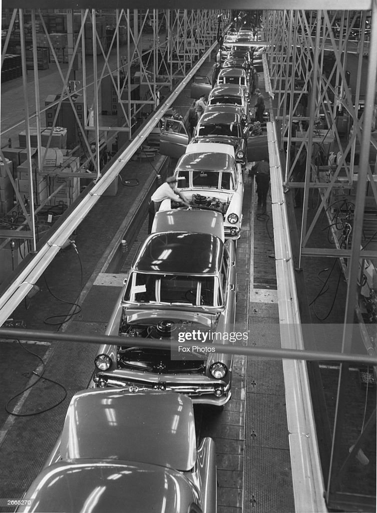 Cars on one of the final stages of a production line at Ford of Canada's Oakville plant, Ontario.
