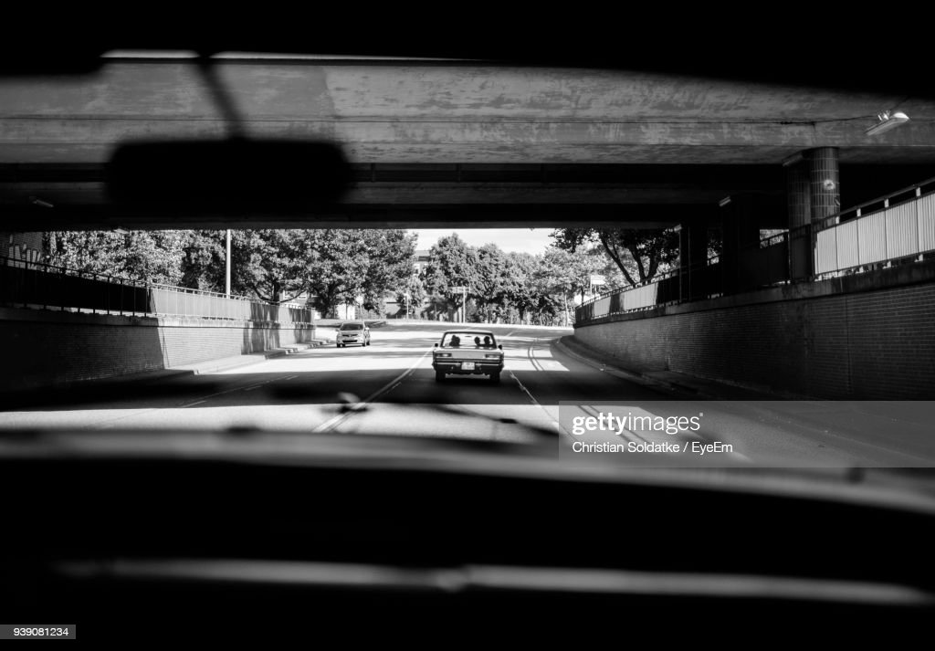 Cars On Road Seen Through Windshield : Stock-Foto
