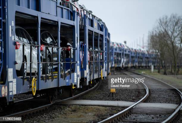 BMW cars on their way with the railway to Cuxhaven port prior to loading onto ferries for transport to the United Kingdom on March 7 2019 in Cuxhaven...