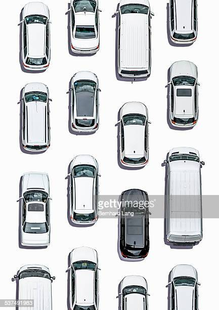 Cars on white subsurface, Aerial View