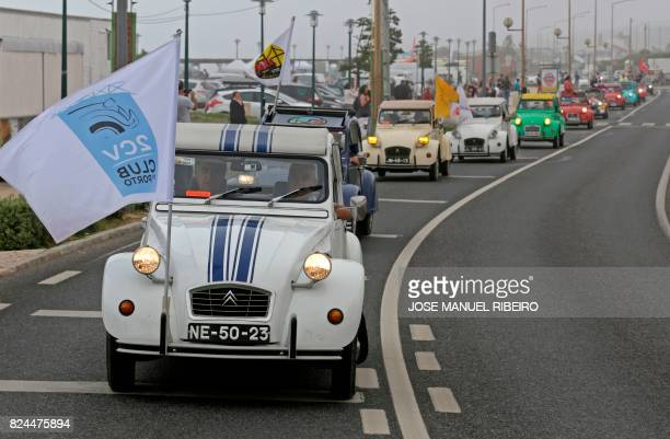 Cars parade between Ericeira and Mafra during the World 2017 2CV Meeting July 30, 2017. - The event is held between the 26th and the 31st of July...