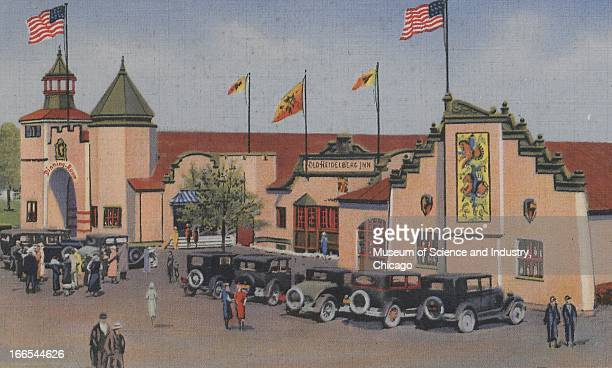 Cars park outside of the Old Heidelberg Inn exhibit and dining room at the Century of Progress International Exposition in Chicago Illinois The...
