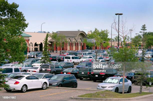 Cars parked at a shopping center