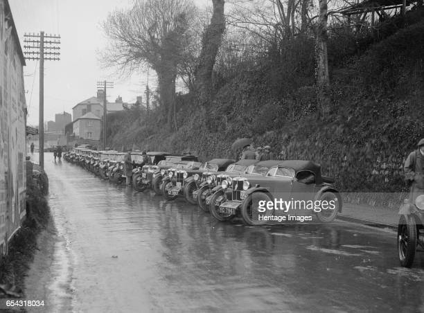 Cars parked at the MCC Lands End Trial Launceston Cornwall 1930 Artist Bill Brunell MG Riley Austin Place Launceston Cornwall MCC Lands End Trial...