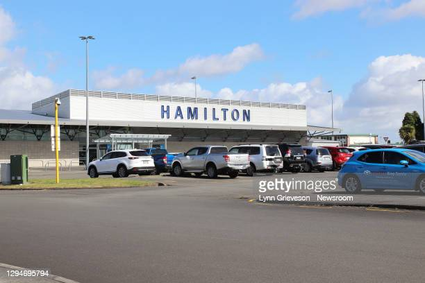 Cars parked at the small regional airport at Hamilton, in New Zealand, on 26 December 2020.