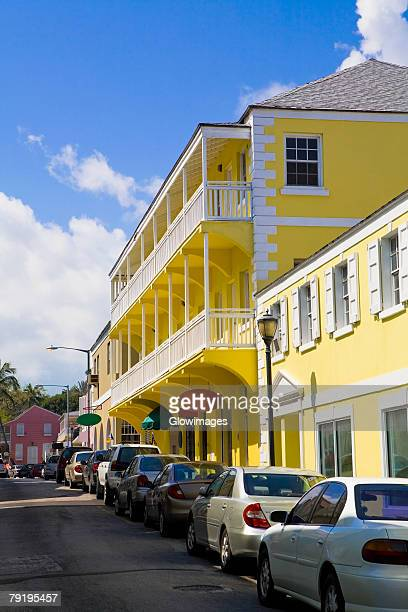 Cars parked in front of a building, Bay Street, Nassau, Bahamas