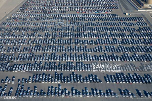 cars parked in lot at port of los angeles - abundance stock pictures, royalty-free photos & images