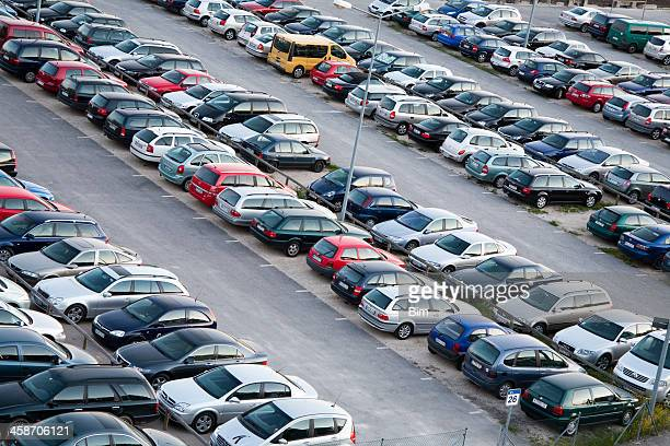 Cars parked in parking lot, elevated view, Airport Nuremberg, Germany