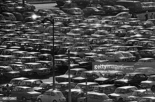 Cars parked nera the stadium Giuseppe Meazza commonly known as the San Siro Milan October 1971