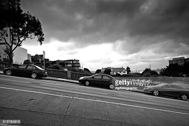 cars parked on steep street - steep stock pictures, royalty-free photos & images