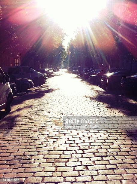 cars parked on street - prenzlauer berg stock photos and pictures