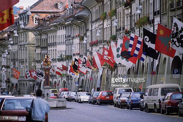 Cars parked on the street, Berne, Berne Canton, Switzerland