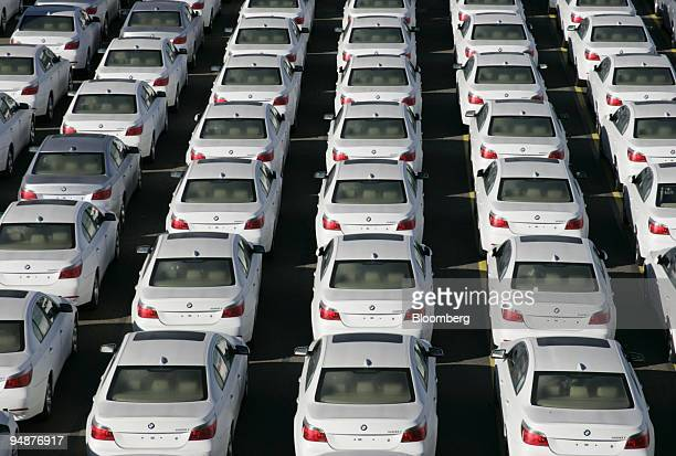 BMW cars parked prior to export at a terminal in Bremerhaven Germany Monday October 11 2004 Bayerische Motoren Werke AG the world's secondlargest...