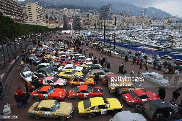 Cars parked up in the parc ferme prior to the 12th Monte Carlo Historical Rally on January 31 2009 in Monte Carlo Monaco Over three hundred cars are...