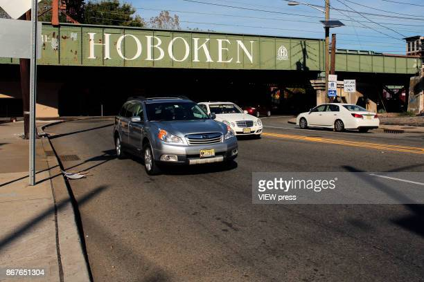 Cars pass by Jersey Avenue in Hoboken New Jersey on October 272017 n