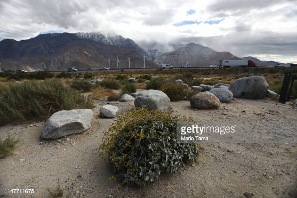 Cars pass on the main highway which crosses the Coachella Valley on May 6 2019 in Whitewater California California's Fourth Climate Change Assessment...