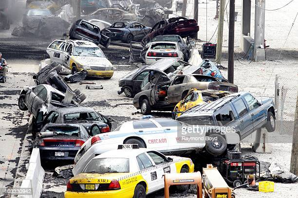 Cars piled up and ready for action during Transformers 3 filming at the Metra Train Station railway tracks at Jackson Street and Michigan Avenue in...
