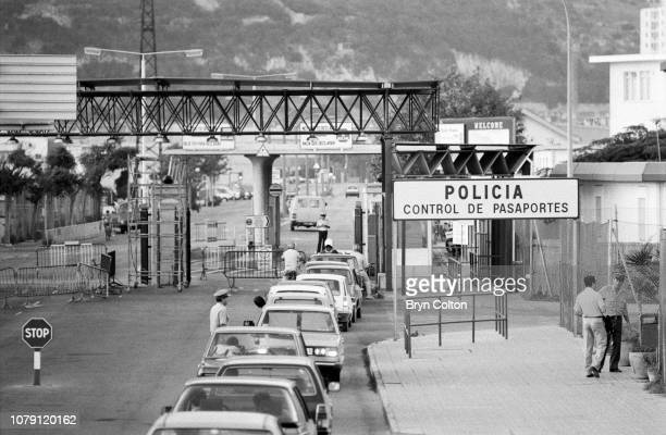 Cars queue and wait to cross the Spanish border crossing into Gibraltar from the Spanish side at La Linea Spain on Tuesday August 26 1986