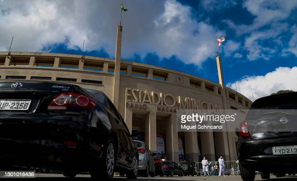 Cars queue outside Pacaembu Stadium where a drive-thru vaccination system for senior citizens was set up on February 8, 2021 in Sao Paulo, Brazil.