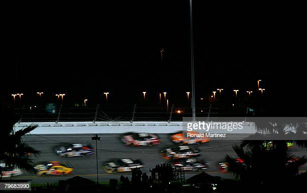 Cars race during the Budweiser Shootout at Daytona International Speedway on February 9 2008 in Daytona Florida
