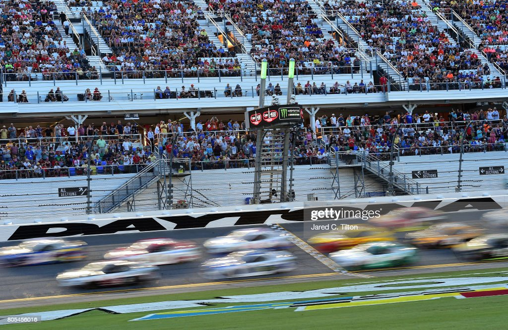 Cars race during the Monster Energy NASCAR Cup Series 59th Annual Coke Zero 400 Powered By Coca-Cola at Daytona International Speedway on July 1, 2017 in Daytona Beach, Florida.