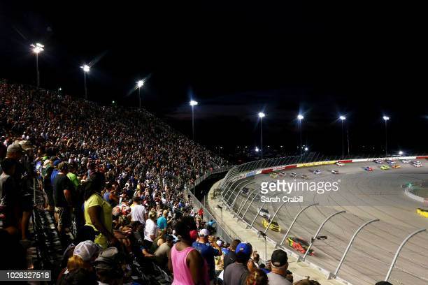 Cars race during the Monster Energy NASCAR Cup Series Bojangles' Southern 500 at Darlington Raceway on September 2 2018 in Darlington South Carolina