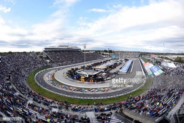 Cars race during the Monster Energy NASCAR Cup Series First Data 500 at Martinsville Speedway on October 29 2017 in Martinsville Virginia