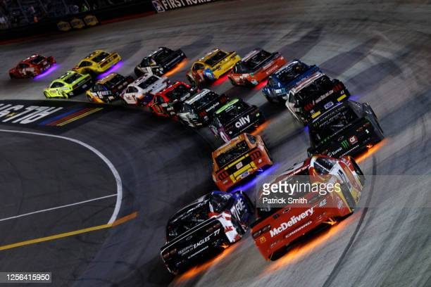 Cars race during the NASCAR Cup Series All-Star Race at Bristol Motor Speedway on July 15, 2020 in Bristol, Tennessee.
