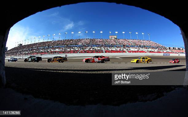 Cars race during the NASCAR Nationwide Series Sam's Town 300 at Las Vegas Motor Speedway on March 10 2012 in Las Vegas Nevada
