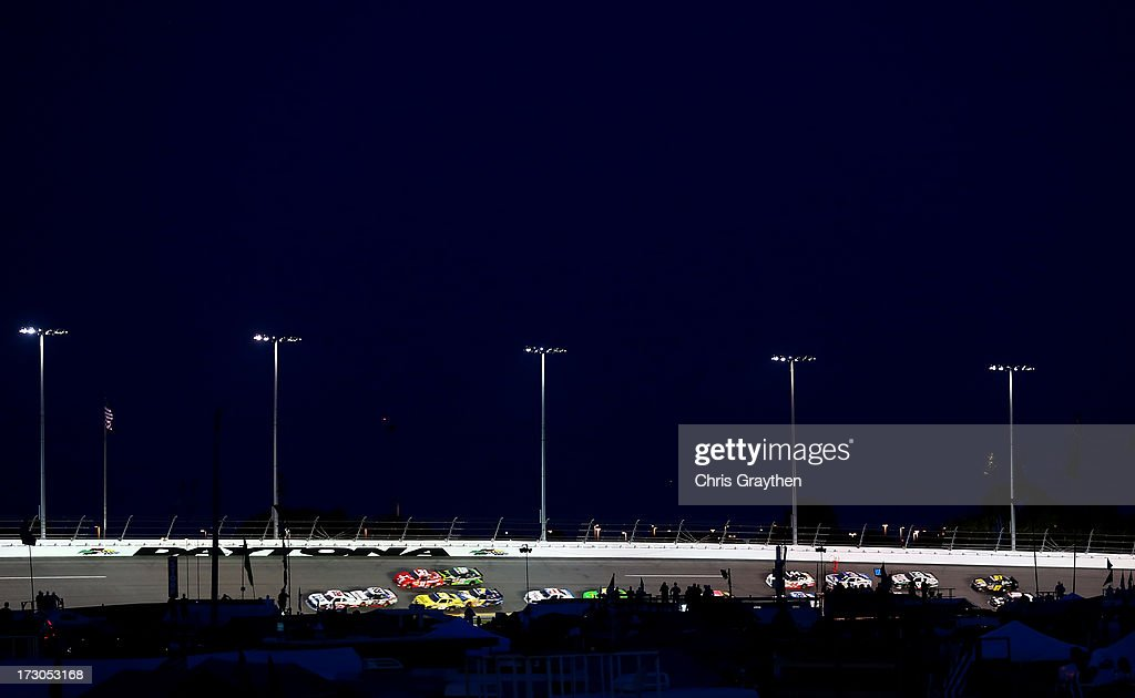 Cars race during the NASCAR Nationwide Series Subway Firecracker 250 at Daytona International Speedway on July 5, 2013 in Daytona Beach, Florida.