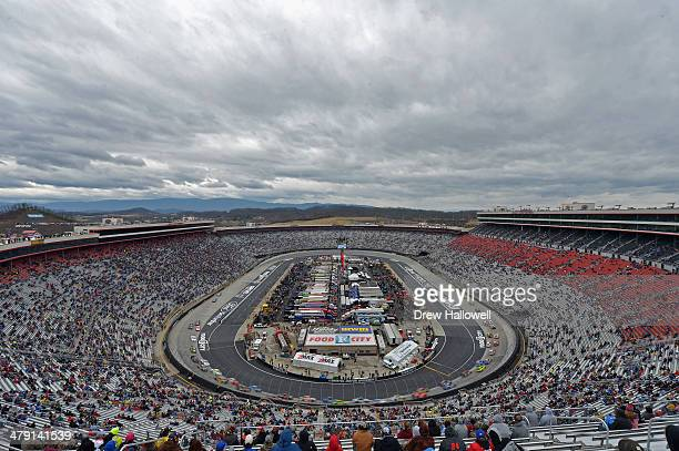 Cars race during the NASCAR Sprint Cup Series Food City 500 at Bristol Motor Speedway on March 16 2014 in Bristol Tennessee