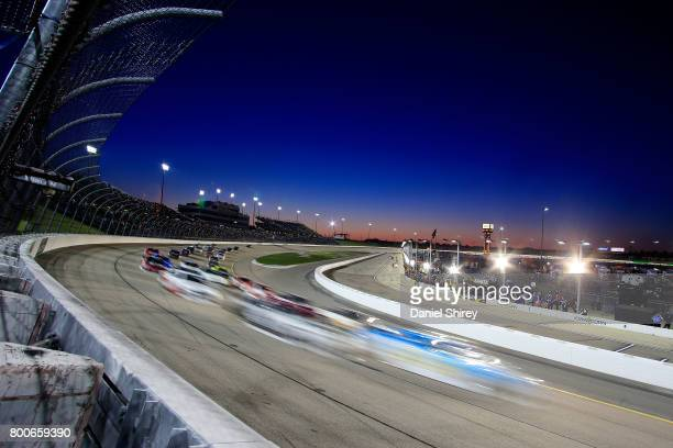Cars race during the NASCAR XFINITY Series American Ethanol E15 250 at Iowa Speedway on June 24, 2017 in Newton, Iowa.