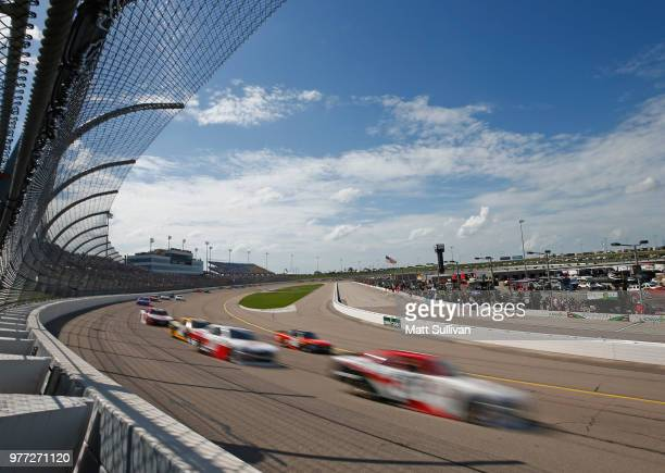 Cars race during the NASCAR Xfinity Series Iowa 250 presented by Enogen at Iowa Speedway on June 17 2018 in Newton Iowa