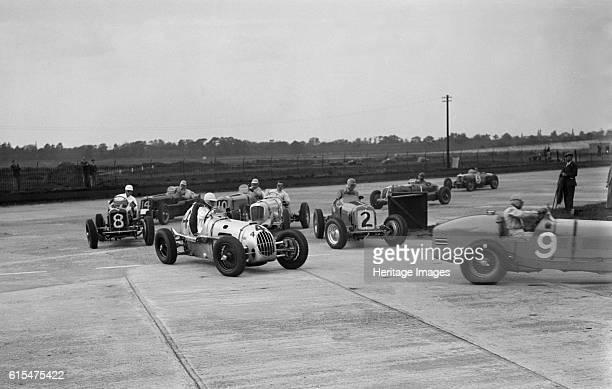Cars racing at the BARC Meeting on the Campbell Circuit Brooklands 15 October 1938 ERA Racing singleseater 1488S cc No 9 Driver Bira B Centre Alta...