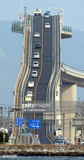 Cars run the Eshima Ohashi bridge on January 28 2014 in Matsue Shimane Japan