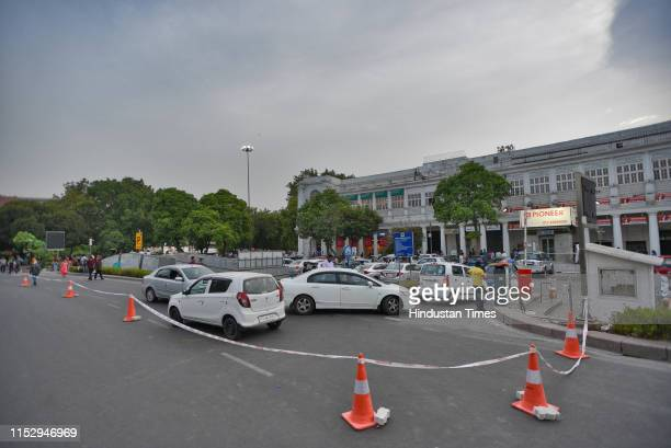 Cars seen parked at Connaught Place, on June 30, 2019 in New Delhi, India. The New Delhi Municipal Council on Sunday starts its trial run to regulate...