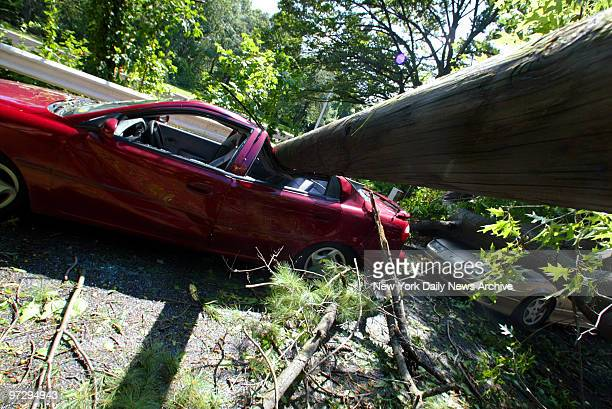 Cars sit crushed under a fallen utility pole and downed tree branches which were toppled by severe wind and rain brought on by remnants of Tropical...