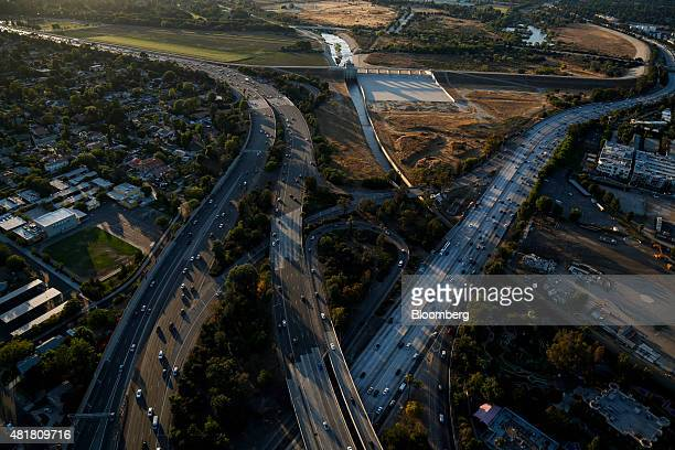Cars sit in rush hour traffic on the 405 Freeway and US 101 Freeway interchange near the Sepulveda Dam in this aerial photograph taken over Los...