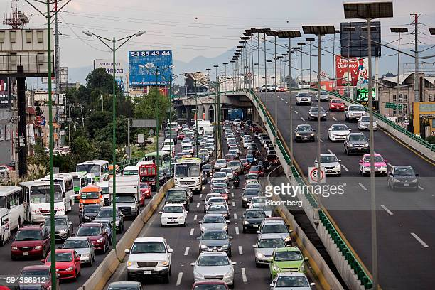 Cars sit in traffic in Mexico City Mexico on Friday Aug 2016 Mexico's push to reduce air pollution may set the stage for a surge in clean...